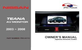 Nissan - Teana AV Screen User Manual In English | 2003 - 2008
