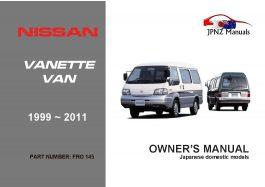 Nissan - Vanette Van Owners User Manual in English | 1999 ~2011