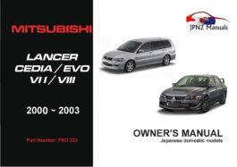 Mitsubishi - Lancer Cedia / Evo VII / VIII Owners User Manual In English | 2000 - 2003