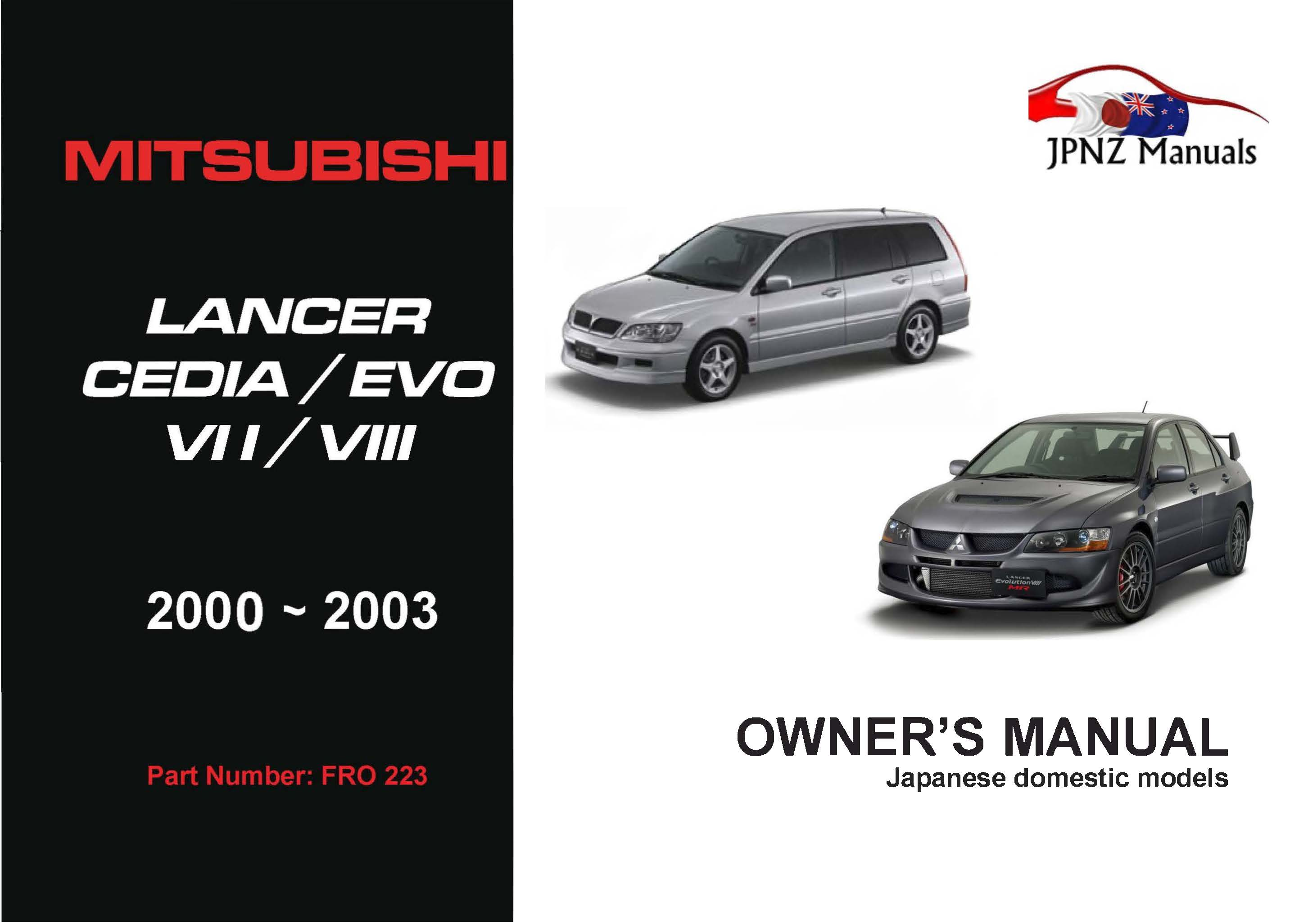 Mitsubishi – Lancer Cedia / Evo VII / VIII owners manual | 2000 – 2003