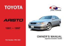 Toyota - Aristo Car Owners User Manual In English | 1991 - 1997