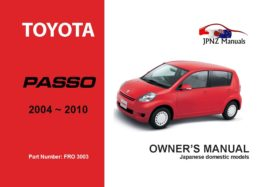 Toyota - Passo Car Owners User Manual In English | 2004 - 2010