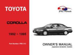 Toyota - Corolla Sedan Owner's User Manual In English   1992 - 1995