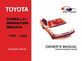 Toyota - Corolla / Sprinter Sedan Owners User Manual In English   1995 - 2000