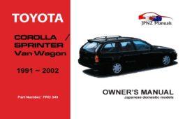 Toyota - Corolla / Sprinter Van Wagon Owners User Manual In English   1991 - 2002