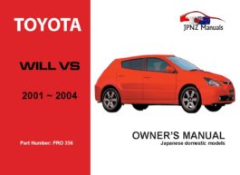Toyota - Will Vs Car Owners User Manual In English | 2001 - 2004