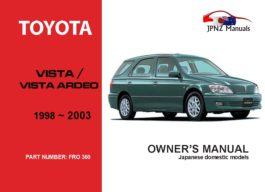 Toyota - Vista / Vista Ardeo Car Owners User Manual In English | 1998 - 2003