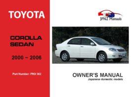 Toyota - Corolla Sedan Owner's User Manual In English   2000~2006