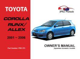 Toyota - Corolla Runx / Allex Owners User Manual In English | 2001 - 2006
