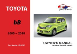 Toyota - bB Owners User Manual In English | 2005 - 2016
