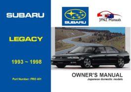 Subaru - Legacy car owners user manual in English | 1993 - 1998