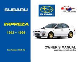 Subaru - Impreza car owners user manual in English | 1992 - 1998