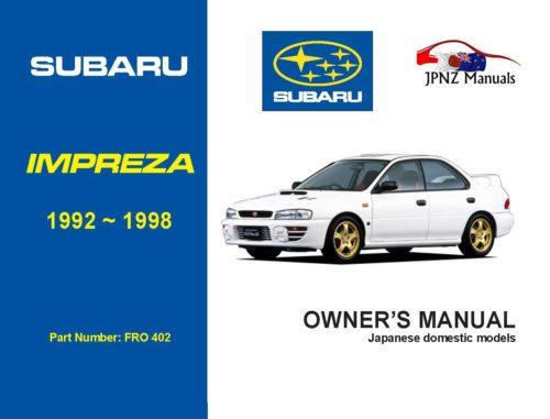 Subaru - Impreza car owners user manual in English   1992 - 1998