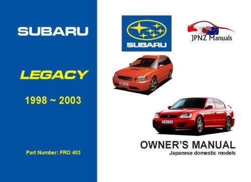 Subaru - Legacy car owners user manual in English | 1998 - 2003