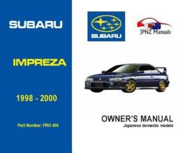 Subaru - Impreza owners user manual in English | 1998 - 2000