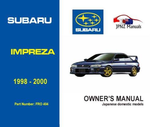 Subaru - Impreza owners user manual in English   1998 - 2000