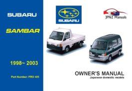 Subaru - Sambar car owners user manual in English | 1998 - 2003