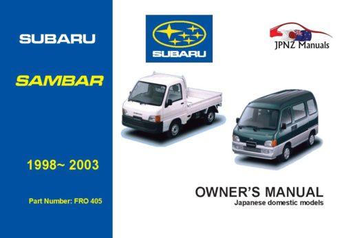 Subaru - Sambar car owners user manual in English   1998 - 2003