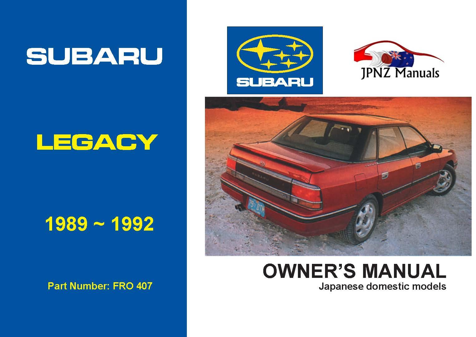 Subaru - Legacy car owners user manual in English | 1989~1992