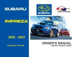 Subaru - Impreza car owners user manual in English | 2000 - 2003