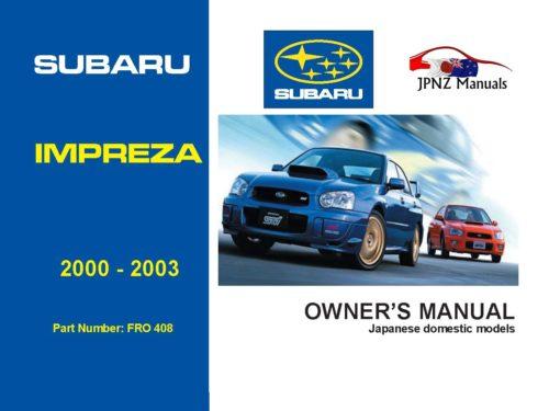 Subaru - Impreza car owners user manual in English   2000 - 2003