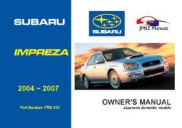 Subaru - Impreza car owners user manual in English | 2004 - 2007