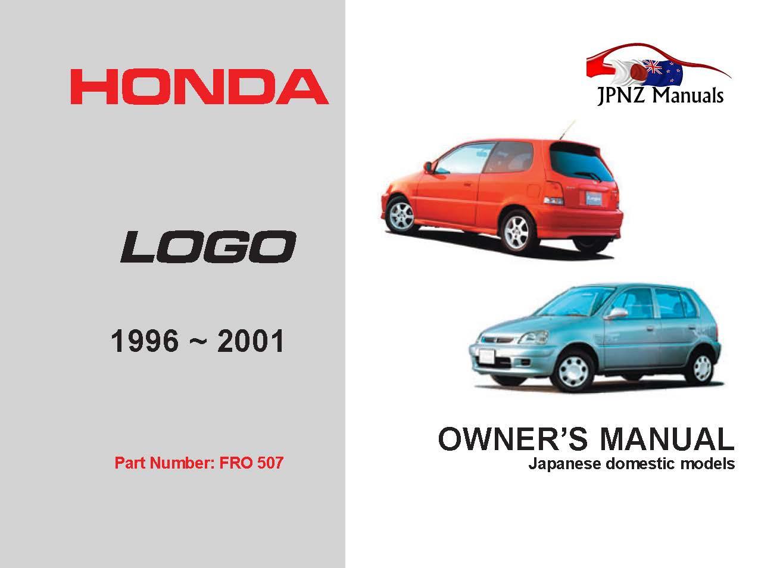 Honda - Logo Car Owners User Manual In English / 1996 - 2001