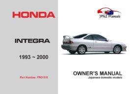 Honda - Integra Car Owners User Manual In English | 1993 - 2000