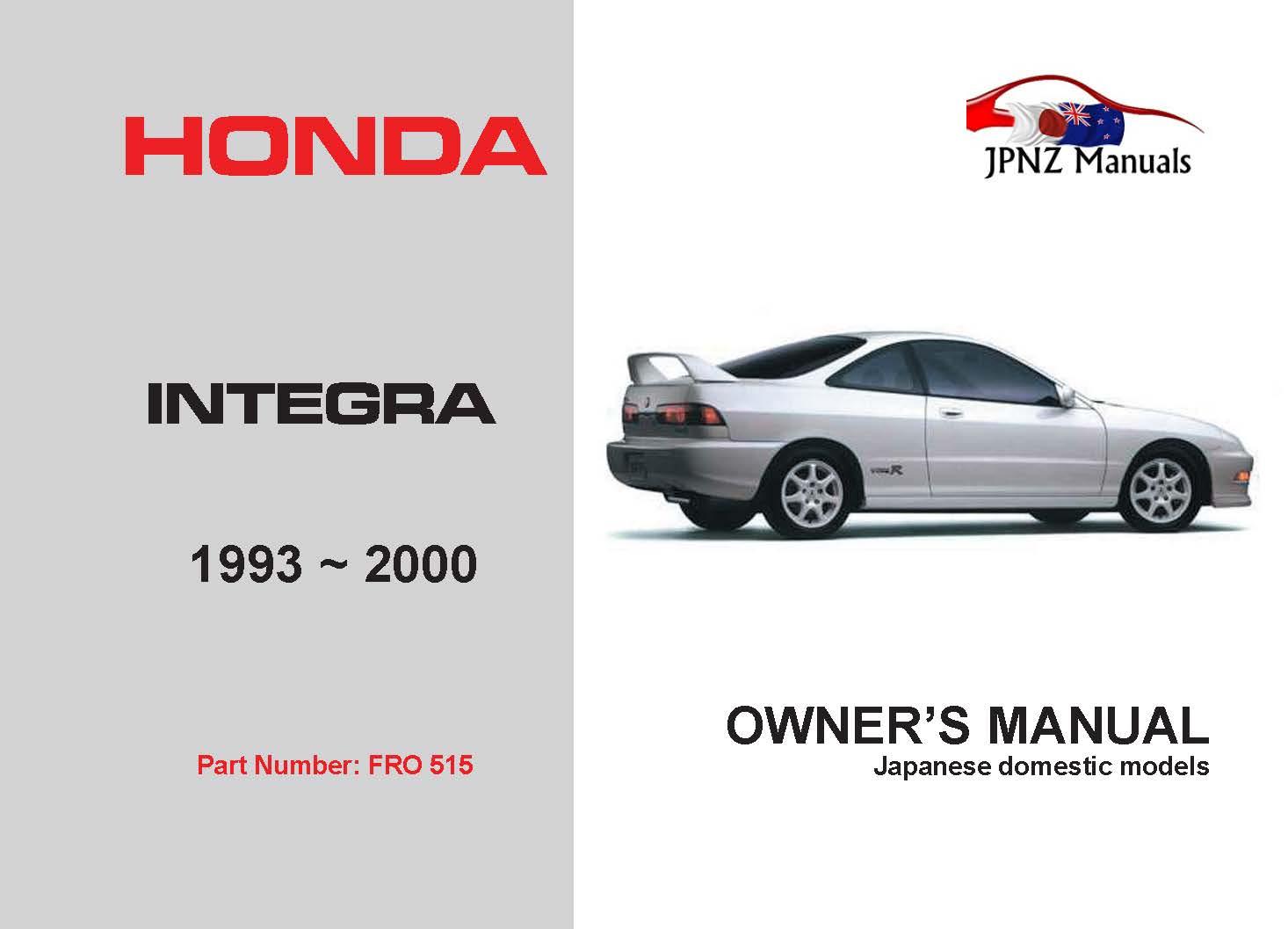 Honda - Integra Car Owners User Manual In English   1993 - 2000