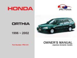 Honda - Orthia Owners User Manual In English | 1996 - 2002