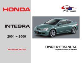 Honda - Integra Owners User Manual In English | 2001 - 2006