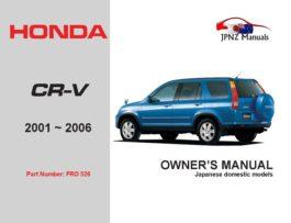 Honda - CR-V CRV Owners User Manual In English | 2001 -2006