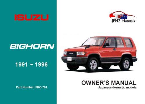 Isuzu - Bighorn Car Owners User Manual In English   1991 - 1996