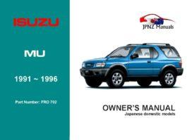 Isuzu - Mu Car Owners User Manual In English | 1991 - 1996