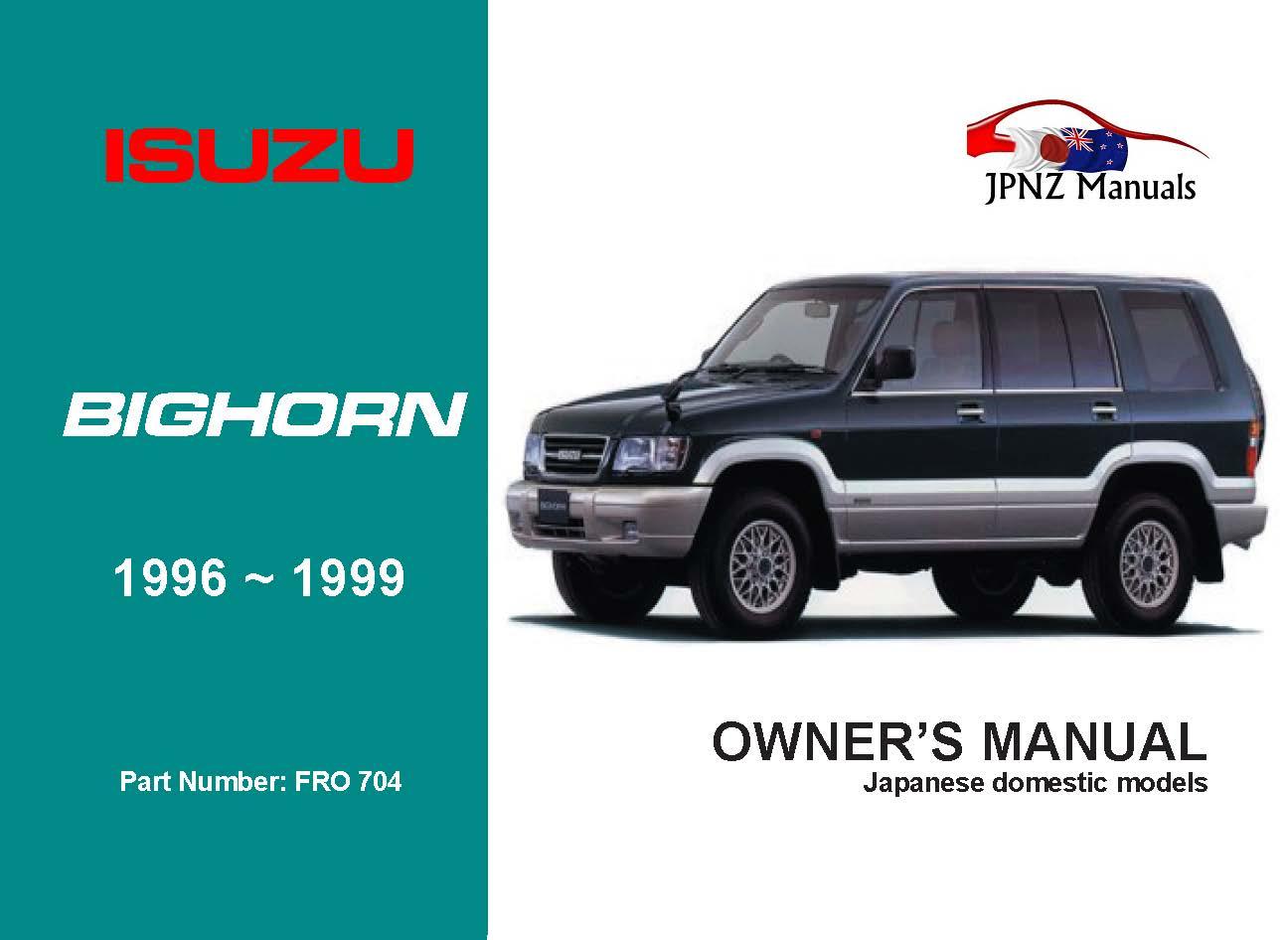 Isuzu - Bighorn Owners User Manual In English | 1996 - 1999