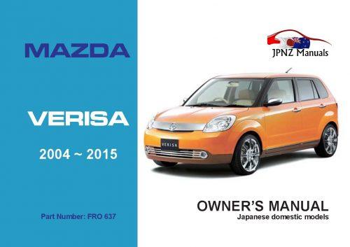 Mazda - Verisa user owners manual in English | 2004 - 2015