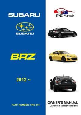 Subaru – BRZ owners user manual in English | 2012 – present