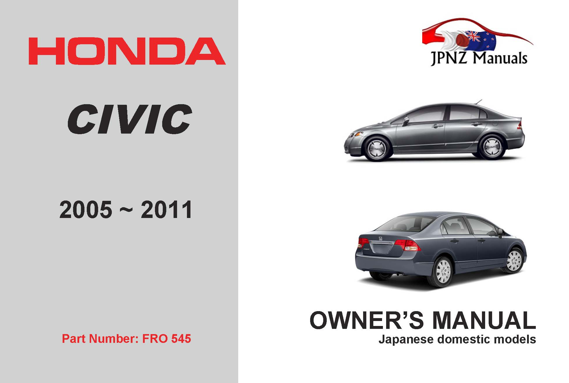 Honda - Civic car owners user auto manual in English | 2005 – 2011