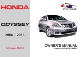 Honda - Odyssey car user owners manual in English | 2008-2013
