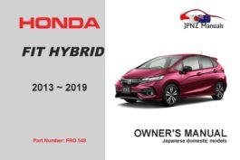 Honda – Fit Hybrid car owners user manual in English | 2013 – 2019