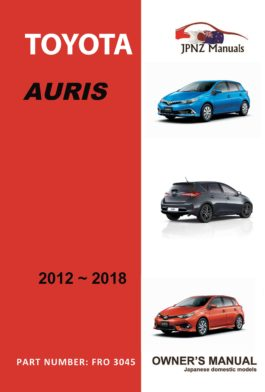 Toyota - Auris owners user manual in English | 2012 - 2018