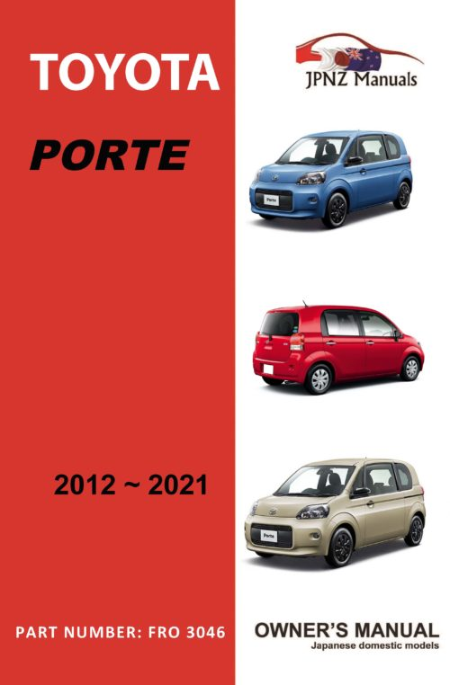 Toyota - Porte owners user manual in English   2012 - 2021